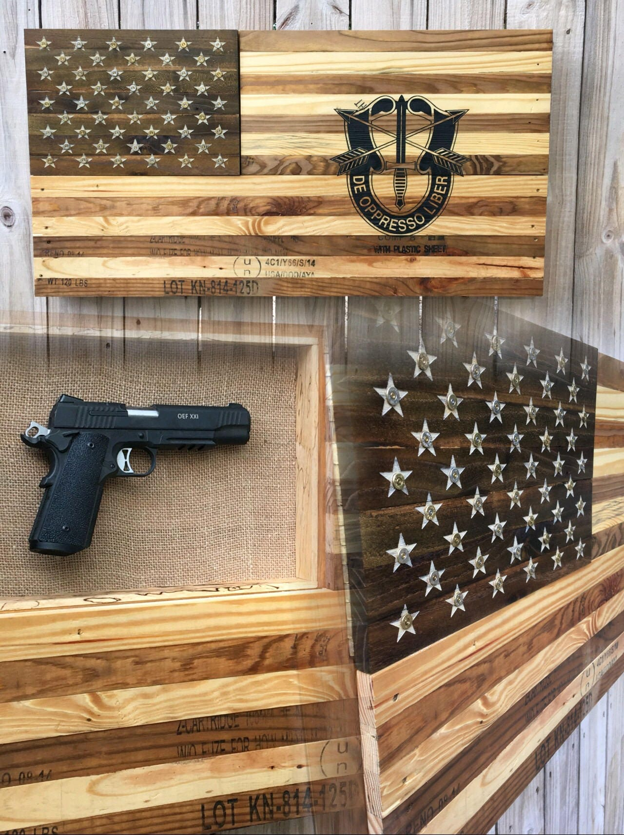Concealed Gun Case Wooden American Flag Re Purposed From