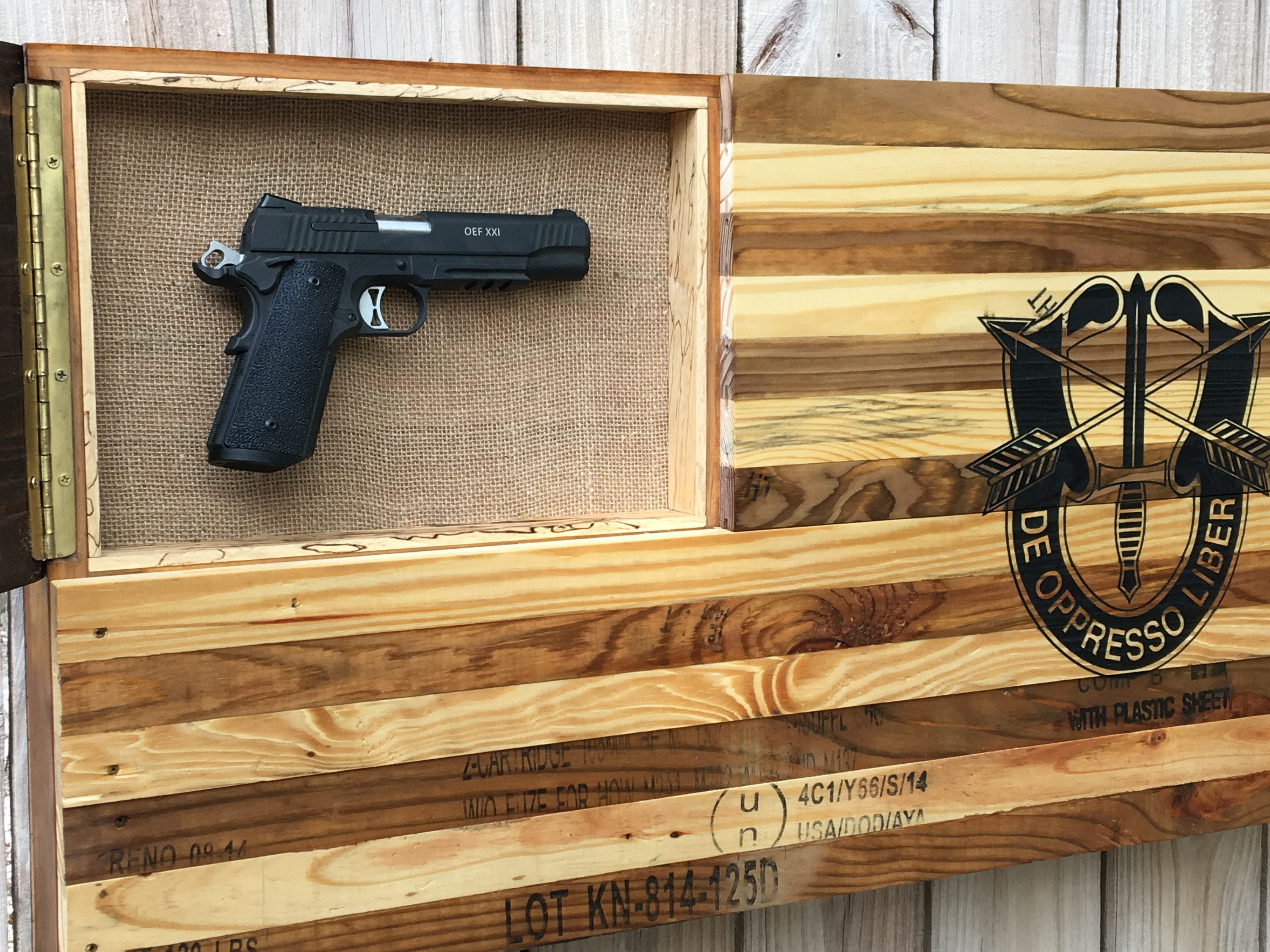 Concealed Gun Case Wooden American Flag Re Purposed From Vintage