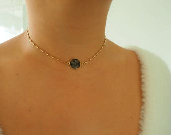 14k Gold Filled Rutilated Quartz Bohemian Choker Necklace | Real Gold Necklace
