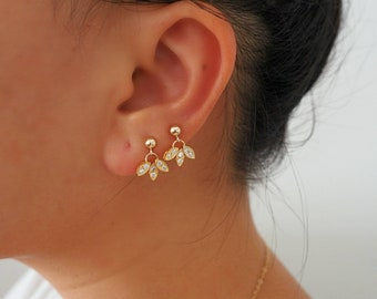 14k Gold Lotus Dangle Drop Stud Earrings