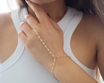14k SOLID GOLD 3mm White Topaz All Around Dainty Hand Piece | VERSION 2.0 | Solid Gold Jewelry | Fine Jewelry