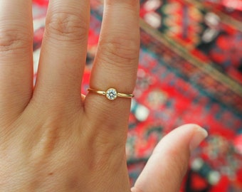 14k Gold Filled CZ Diamond Stackable Ring/ Dainty Gold Ring/ Real Gold Jewelry