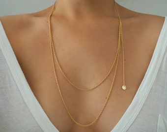 14k Gold Braided Rope Double Layer Necklace with Coin Tassel