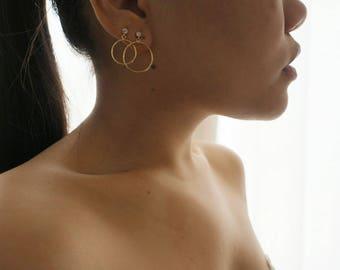 14k Gold Circle Hoop CZ Diamond Stud Earring (Big)