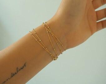 14k GOLD Speckled Chain Multi Way Bracelet & Necklace/ / Dainty Bracelet/ Real Gold Jewelry/ Real Gold Bracelet/ Wrap Bracelet