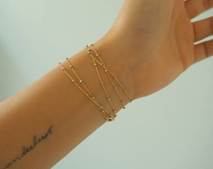 Featured listing image: 14k GOLD Speckled Chain Multi Way Bracelet & Necklace/ / Dainty Bracelet/ Real Gold Jewelry/ Real Gold Bracelet/ Wrap Bracelet