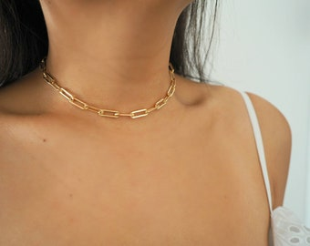 14k Gold Filled Bold Retro Chain Choker Necklace