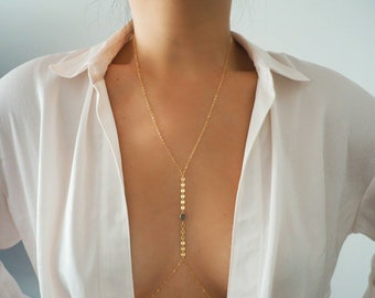 14k Gold Filled LABRADORITE Oval Coin Line Dainty Body Chain