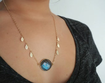 14k Gold Filled Labradorite with Oval Discs Charm Necklace