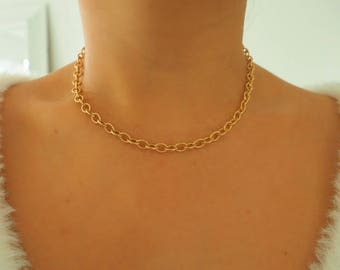 14k Gold Filled Chunky Chain Choker Necklace/ Dainty Gold Necklace / Gold Filled Jewelry / Real Gold Necklace // Dainty Jewelry
