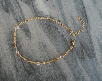 14k Gold Filled with CZ Diamonds Braided Rope Anklet