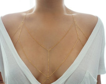 14k Gold Filled Dainty Chain Bralette Halter Top Body Chain/ Dainty Gold Body Chain / Gold Body Chain / Body Chain/