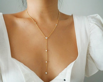 14k Gold Filled with CZ Diamonds Rope Chain Lariat Y Necklace