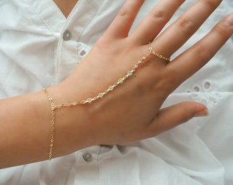 14k Gold Filled Five Swarovski Diamond Dainty Hand Piece | Real Gold Bracelet