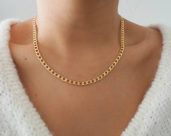 14k Gold Filled Classic Retro Curb Chain Necklace/ Gold Chain Layer Necklace/ Real Gold Jewelry