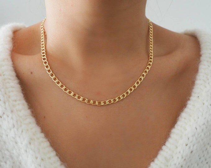 Featured listing image: 14k Gold Filled Classic Retro Curb Chain Necklace/ Gold Chain Layer Necklace/ Real Gold Jewelry