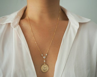 14k Gold Filled CZ Diamond Sparkle Shaker Coin Necklace (Big)