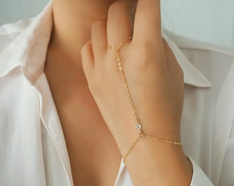 14k Gold Filled WHITE TOPAZ Dainty Hand Piece