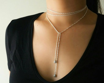 Sterling Silver Rope Chain Wrap Choker Necklace// Sterling Silver Jewelry/ Sterling Silver Necklace