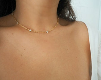 14k Gold Filled CZ Diamonds Rope Chain Necklace