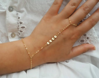Dainty 14k Gold Filled Hand Piece with Tiny Gold Charms// Dainty Jewelry