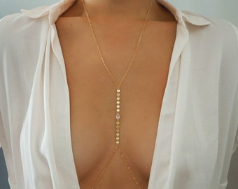 14k Gold Filled WHITE TOPAZ Oval Coin Line Dainty Body Chain