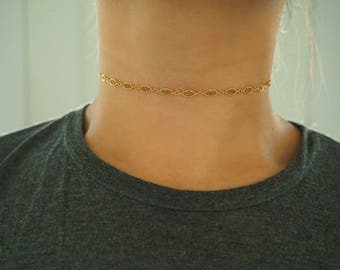 14k Gold Filled Oval Chain Dainty Choker Necklace/ Dainty Gold Necklace / Gold Filled Jewelry / Real Gold Necklace /