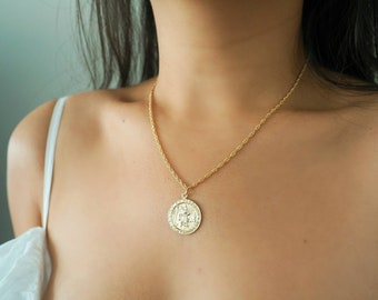 14k Gold Filled Coin Necklace with Rope Chain (Big)