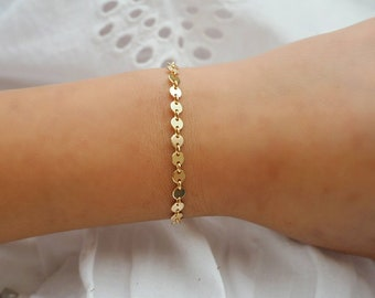 14k Gold Filled Coin Dainty Chain Bracelet/ Real Gold Jewelry/ Layer Bracelet