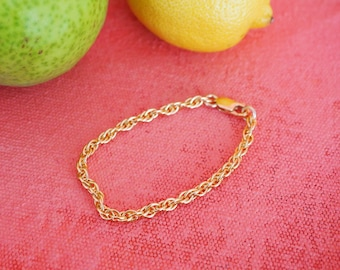 14k Gold Filled Braided Rope Chain Bracelet   Thick   Real Gold Bracelet