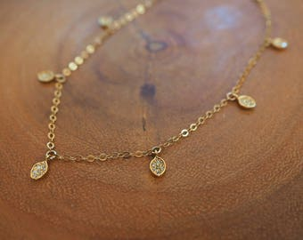 14k Gold Filled CZ Diamond Leaf Dainty Anklet// Dainty Jewelry