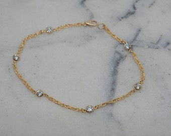 14k Gold Filled CZ Diamonds Rope Chain Anklet