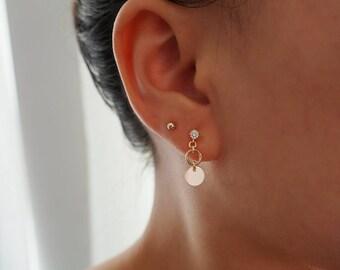 14k Gold Coin Disc CZ Diamond Stud Earring