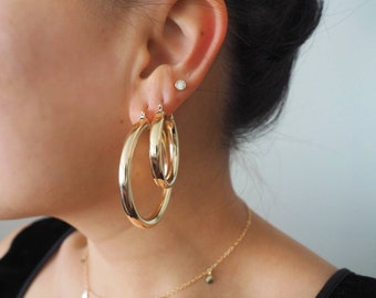 14k Gold Filled Thick Classic Hoop Earrings