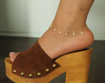 The ALEXIS Anklet in 14k Gold Filled with Dripping CZ Diamonds
