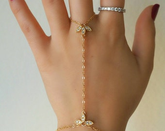 14k Gold Filled Marquise CZ Diamond Lotus Dainty Hand Piece// Dainty Jewelry