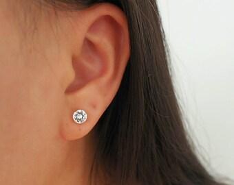 14k Solid Gold CZ Diamond Stud Earrings