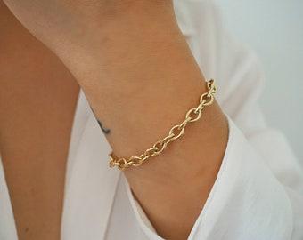 14k Gold Filled Smooth Chunky Bracelet/ Minimalist Bracelet/ Minimalist Jewelry/ Real Gold Jewelry/ Dainty Jewelry