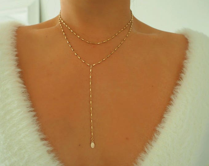Featured listing image: 14k Gold Filled Bohemian Double Layer Lariat Y Necklace | Real Gold Necklace