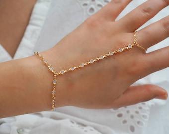 Gold Goddess Swarovski OPAL OPALITE Dainty Hand Piece/ Gold Finger Bracelet/ Dainty Jewelry