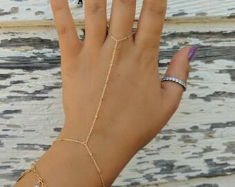 14k GOLD Speckled Dainty Hand Piece// Dainty Jewelry