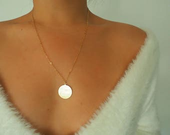 14k Gold Filled Large Coin Disc Layer Necklace | Real Gold Necklace