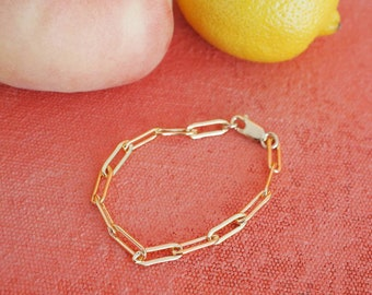14k Gold Filled Paperclip 15mm Chain Bracelet   Thick   Real Gold Bracelet