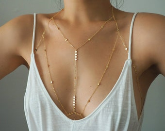 14k GOLD Filled Tiny Coins T-Row Dainty Chain Bralette Halter Top Body Chain/ Dainty Gold Body Chain / Gold Body Chain / Body Chain