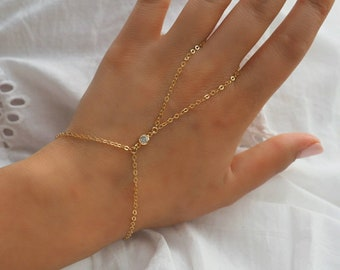 14k Gold Filled CZ Diamond Dainty Hand Piece