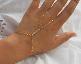 14k Gold Filled CZ Diamond Dainty Hand Piece | Real Gold Bracelet