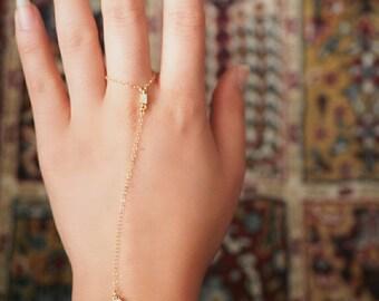 14k Gold Filled Emerald Cut Crystal CZ Diamond Dainty Hand Piece// Dainty Jewelry