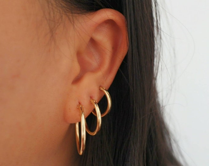 Featured listing image: 14k Gold Filled Hoop Earrings