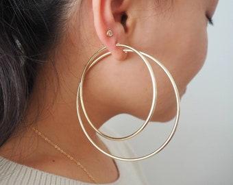 14k Gold Filled Big Hoop Earrings | 2mm Wide | Lightweight