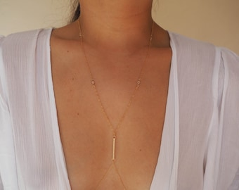 14k Gold Filled Dainty Body Chain with Diamonds Vertical Bar/ Dainty Gold Body Chain / Gold Body Chain / Body Chain/ Gold Filled Jewelry